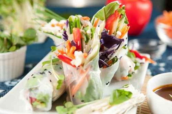 ... Vegetable Spring Rolls With Peanut and Sweet Chili Dipping Sauce